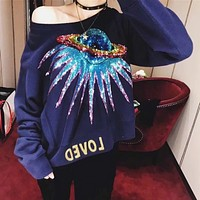 GUCCI 2017 autumn and winter new G home retro planet sequins UFO alphabet patch purple round neck cotton long-sleeved sweater