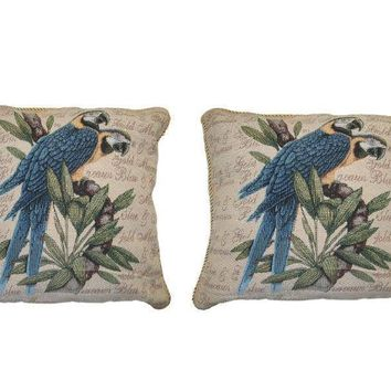 DaDa Bedding Set of Two Parrots in Love Cushion Covers w/ Pillow Inserts - 2-PCS - 18""