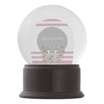 Cute Twin Bunny Personalized Photo Pastel Pink Snow Globes