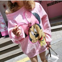 college Wind Women Hoodies Fashion Pink Cartoon Mickey Sweatshirts Winter Cute hoodies Tracksuits Female