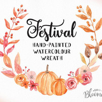 Watercolour Flower Wreath Clipart - Harvest Festival Hand Painted INSTANT Download Fall PNG & JPEG Autumn Leaves Pumpkin Digital Art Garland