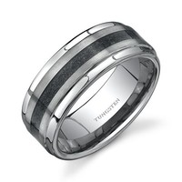 Step Edge Brush Finish Black Carbon Fiber 9 mm Comfort Fit Mens Tungsten Wedding Band Ring Size 8 to 13