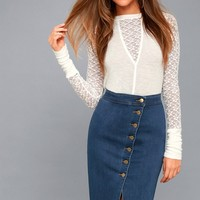 Buena Vista Medium Wash Denim Pencil Skirt
