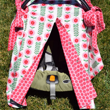 Infant Car Seat Canopy / Infant Car Seat Cover / Snaps Open & Closed / Pink Floral and Polka Dots