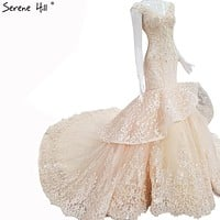 High-end Custom Vintage Mermaid Wedding Dress V-Neck Flowers Sequined Sexy Fashion Bride Gown
