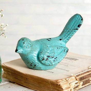 Set of 4 Turquoise Bird Garden Statue