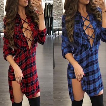 Women's V-neck Long Sleeve Dress