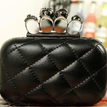 women leather skull purse knuckle handbag clutch evening bag black with chain 2