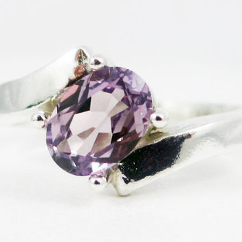 Alexandrite Offset Oval Ring Sterling Silver