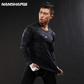 New Compression T Shirt Long Sleeves T-shirt GYMS Fitness Clothing Print Quick Dry Body build