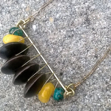 Yellow Agate & Wood Splatter Beaded Wire Crescent Necklace