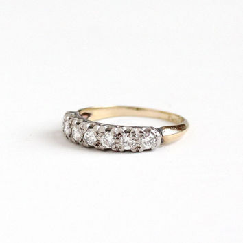 Vintage 14k Yellow & White Gold .42 CTW Diamond Wedding Band Ring - Size 6 Mid Century 1950s Engagement Bridal Two Tone Fine Jewelry