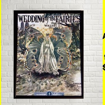 Poster Fairy Queen Antique Vintage Wall Art Decor Whimsical Fantasy Renaissance Art Nouveau Pixie Elf Cheap Gift Stocking Stuffer Girl