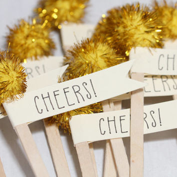 Cheers! Wood Drink Stirrers with Gold Sparkle Pom Poms and Ivory Cardstock Flags - Set of 12