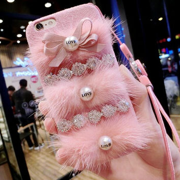 Fashion woman butterfly knot pearl plush pink phone case For iPhone 6 6S 6Plus 6S Plus 7 7 PLUS  1026SSDZB