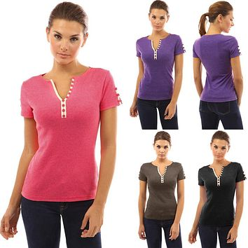 Women Ladies Sexy Casual Button V Neck T-shirt Short Sleeve Tops Blouse
