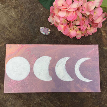 Moon Phases Acrylic Canvas Painting, Art, Home Decor, Acrylic, Painting, Canvas, Moon Phases