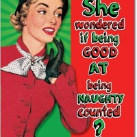 12 'Being Good Counts' Boxed Christmas Cards with Envelopes, Hilarious Naughty Nice List Holiday Notes, Old Fashioned Artwork of Classy Woman Christmas Cards - Greeting Cards