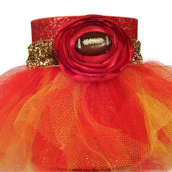 Red Glitter Tutu Koozie with Sports Football Theme - Red & Yellow
