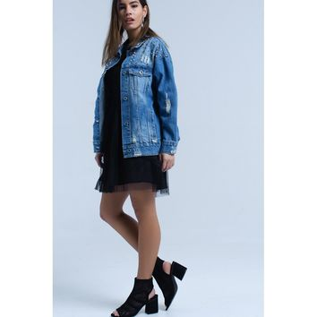 Denim jacket with studded detail