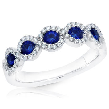 "Ben Garelick ""Criss Cross"" Blue Sapphire & Diamond Right Hand Ring"