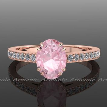 Oval Morganite & Diamond Engagement Ring