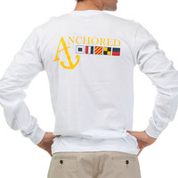 Long Sleeve White Nautical Flag T-Shirt