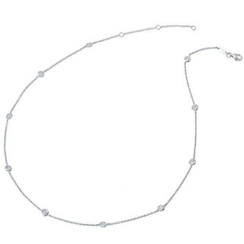 Lafonn Simulated Diamond by the Yard Round Cut Bezel Set Necklace