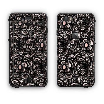 The Black Floral Lace Apple iPhone 6 Plus LifeProof Nuud Case Skin Set