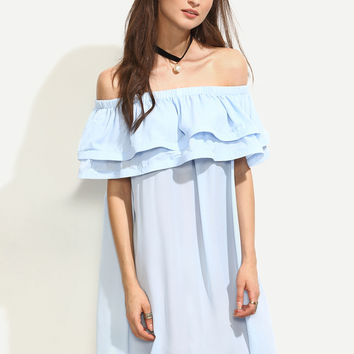 Blue Ruffle Off The Shoulder Shift Dress | MakeMeChic.COM