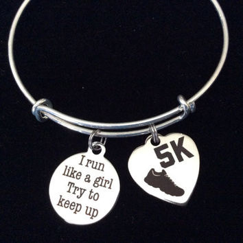 5K Running Race I Run Like A Girl Try To Keep Up Word Quote on Expandable Adjustable Wire Bangle Bracelet Finish Line Gift