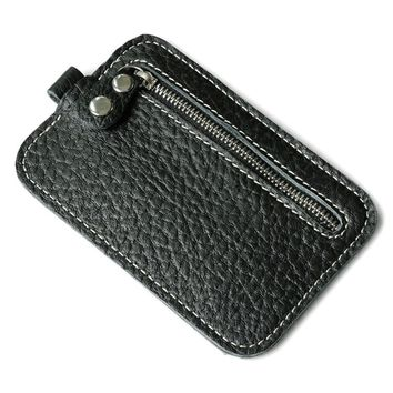Men card holder wallets for plastic cards leather Clutch Purse Coffee Black color Key Bag ping #7m