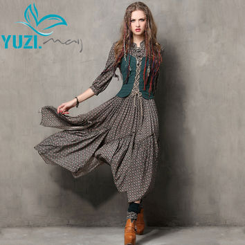 Summer Style Women Dress 2017 Yuzi.may Vintage Tunic Cotton Combo Dresses Mandarin Collar Three Quarter Sleeve Maxi Vestido 6526