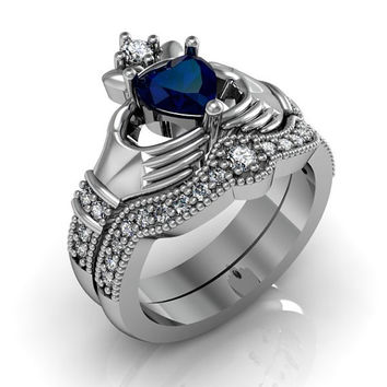 Claddagh Ring - Created Blue Spphire Sterling Silver Love and Friendship Engagement Ring Set