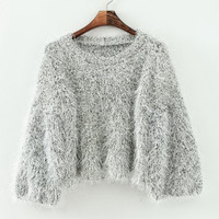 Gold Silver Stitch Thread Cropped Party Sweater