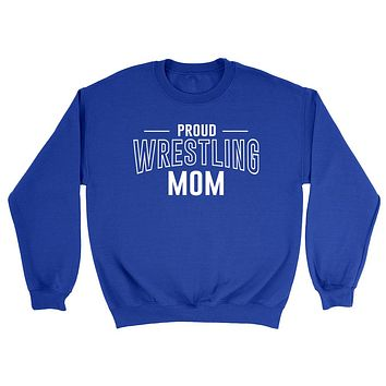 Proud wrestling mom team squad game day sport mom love wretsling Mother's day Crewneck Sweatshirt