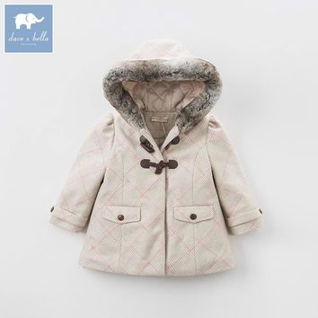 DK0727 dave bella autumn winter girls wool jacket children hooded coat baby lolvely clothes
