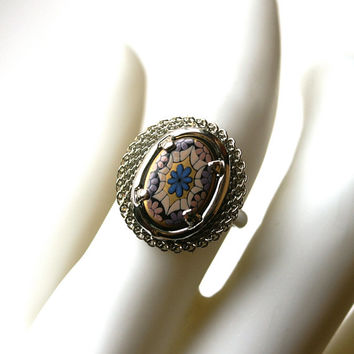 Vintage Mosaic Black Glass Ring Adjustable Silver Tone Mesh Ring Rhodium Plated Purple and Blue Flowers