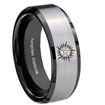 10mm Supernatural Beveled Brushed Silver Black Tungsten Men's Wedding Band