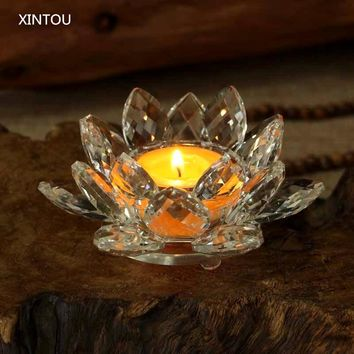 XINTOU Crystal Lotus Flower Candle Holders