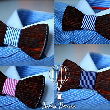 FREE SHIPPING till 10th of December.Customise your wooden bow tie.Mahogany+ 15 textile to choose.Handicraft unique men accessory.Manly gift.