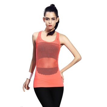 Mesh Net Yoga Shirt Women Vest Tank Running Clothing ropa deportiva mujer gym Scoop Neck Slim Cool Racerback Sports Tops