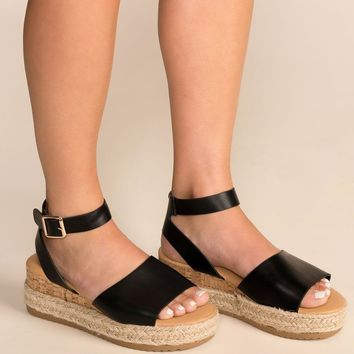 Beautiful Day Black Platform Sandals