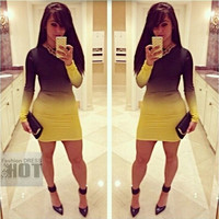 New Arrival 2015 Fashion Yellow Print Women Party Midi Dress,Plus Size Long Sleeve Peplum Spring Dresses = 1956789892