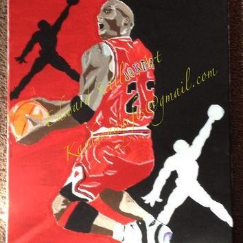 Michael Jordan Reverse Jam Acrylic Sports Art Basketball Painting