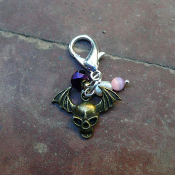 Cat Jewelry Charm with Winged Skull, Freshwater Pearl & Faceted Glass Bead - Cat Collar Charm - Dog Jewelry - Pet Fashion