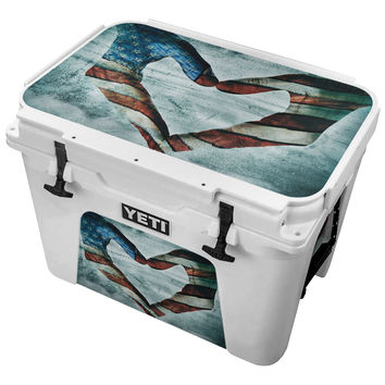 American Flag Heart Hands Skin for the Yeti Tundra Cooler