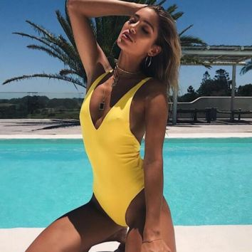 2018 New Solid Color One Piece Swimsuit Women's Sexy Bikini Bright yellow