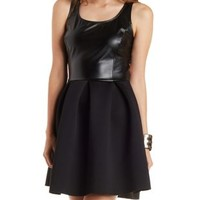 Black Faux Leather & Scuba Knit Skater Dress by Charlotte Russe