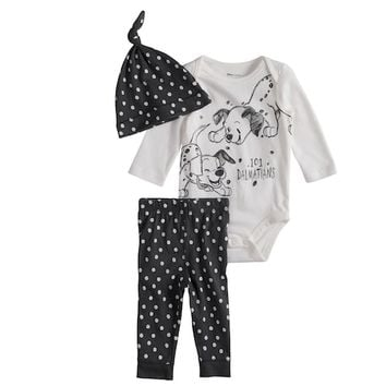 Disney's 101 Dalmatians Baby Graphic Bodysuit, Print Pants & Hat Set by Jumping Beans®